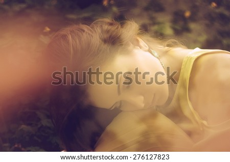 girl with freckles in brown tones fashion - stock photo