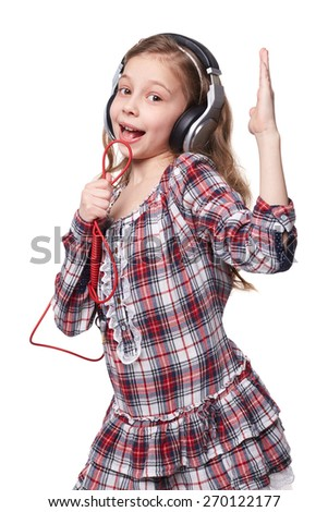 Girl With Glasses and Headphones Singing Isolated On white - stock photo