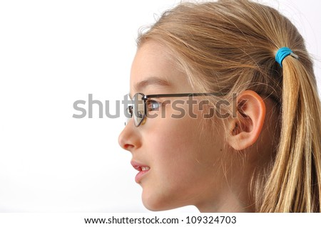 Girl with glasses isolated on white - stock photo