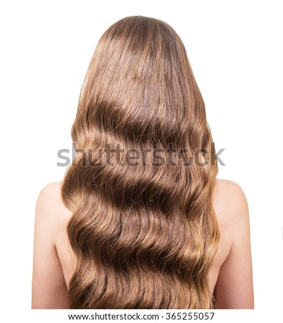 Girl with gorgeous wavy hair is back, closeup on white background - stock photo
