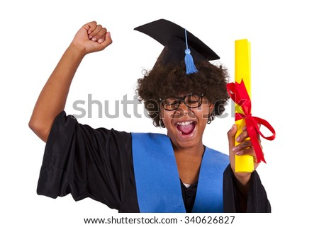 girl with graduation gown - stock photo