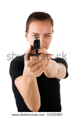 Girl with gun. It is isolated on a white background. - stock photo
