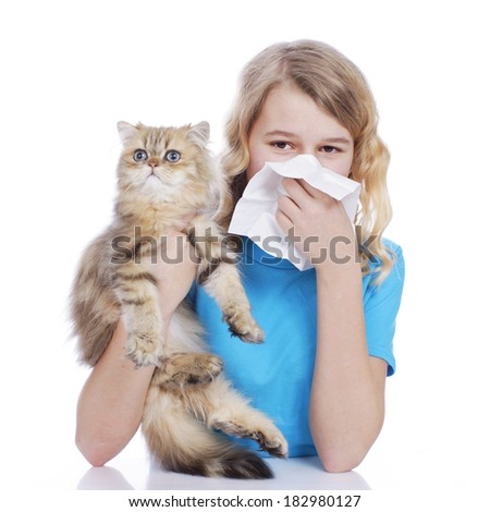 Girl with handkerchief and cat allergy - stock photo