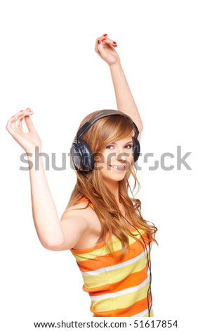 Girl with headphones isolated over white background - stock photo