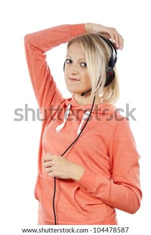 girl with headphones posing isolated - stock photo