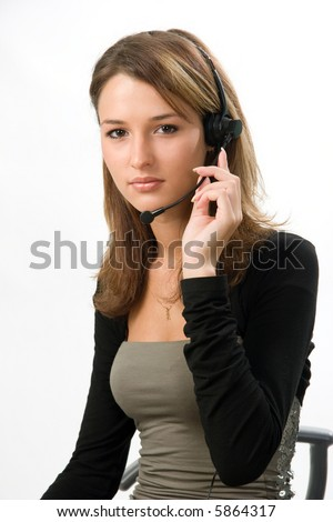 girl with headset at call center - stock photo
