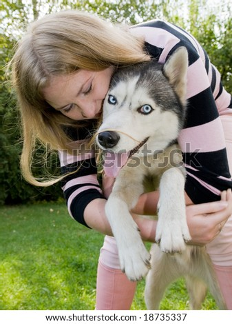 girl with her dog - stock photo
