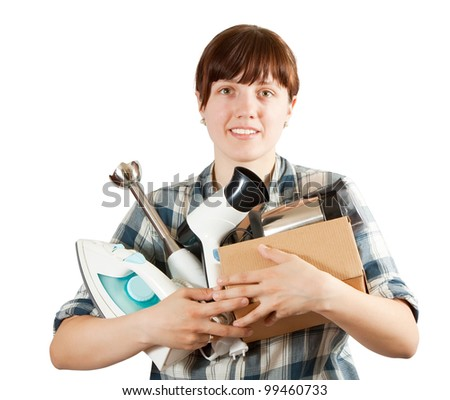 Girl with household appliances over white - stock photo