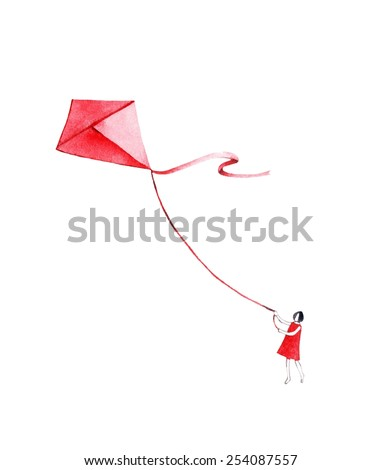 Girl with kite. Watercolor illustration. Romantic paint for your design. People illustration. Mother's day greeting card. Girl. People background.  - stock photo