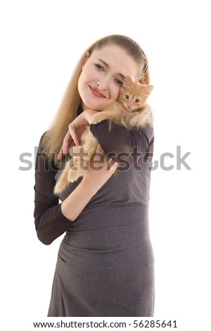 girl with kitten isolated on white background - stock photo