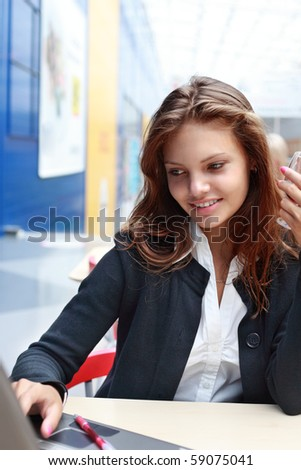 girl with laptop - stock photo