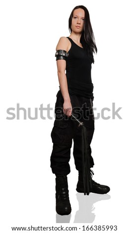 Girl with lash in cargo pants with lash on white background - stock photo