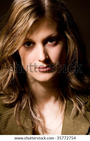 Girl with long hair portrait - stock photo