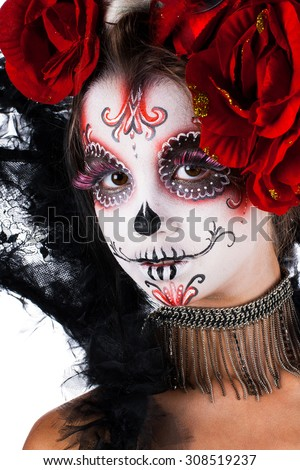 Girl with make-up in the style of Halloween. sugar skull styling. Isolated on white background. - stock photo