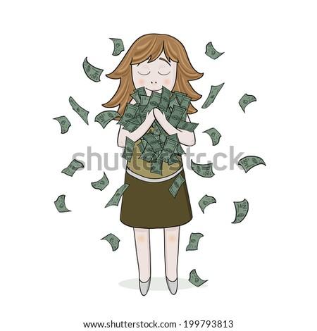 girl with money - stock photo