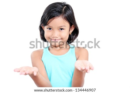 Girl with open hands asking for something. - stock photo