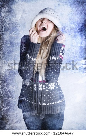 Girl with open mouth in a winter clothes - stock photo