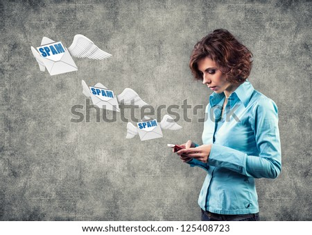 Girl with phone and letters flying on wings - stock photo
