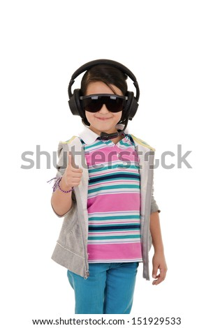 girl with protective equipment and ear protection - stock photo