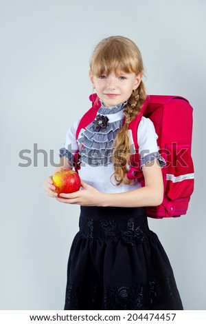 girl with red apple.  - stock photo