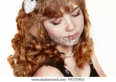 Girl with red curly health hair style, studio salon - stock photo