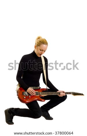 girl with red electric guitar over white background - stock photo