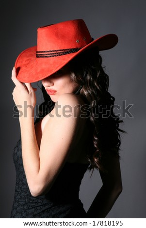 girl with red hat and lips - stock photo