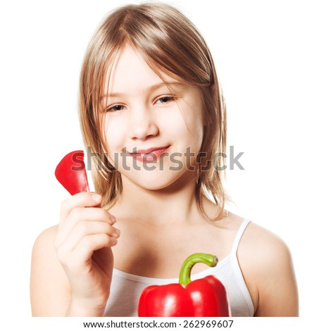Girl with red pepper vegetable, Healthy Eating concept - stock photo