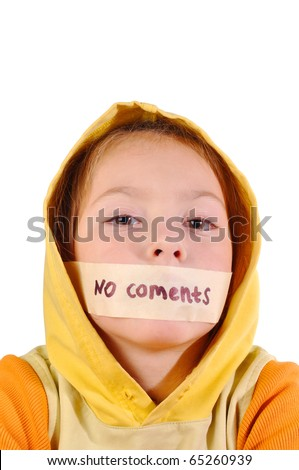 "Girl with sealed lips and the words ""no comment"" on a white background - stock photo"