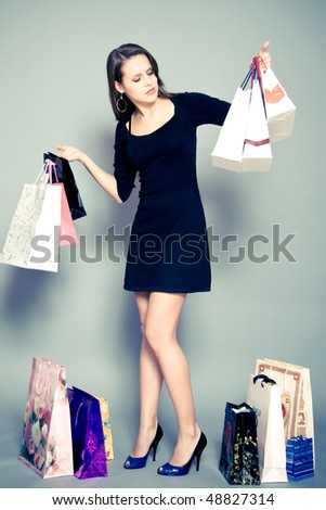 girl with shopping bags - stock photo