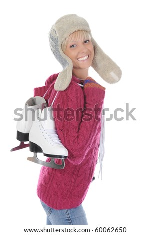 Girl with skates. Isolated on white background - stock photo