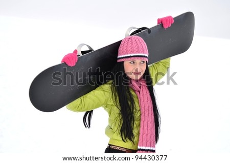 girl with snowboard - stock photo