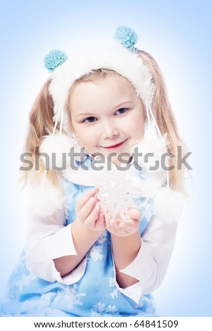 girl with snowflake - stock photo