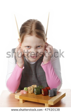 Girl with sushi - stock photo
