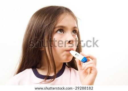 Girl with thermometer - stock photo