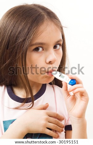 Girl with thermometer on white - stock photo