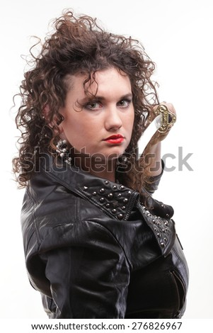 Girl - woman dark curly hair natural brown haired holding in her hands katana - stock photo