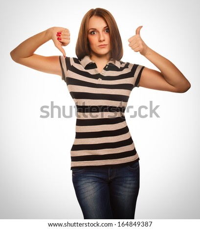 girl woman shows signs yes and no, hand fingers emotion - stock photo