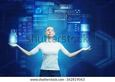 Girl working with virtual screen  - stock photo