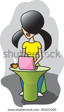 Girl works with computer - stock photo