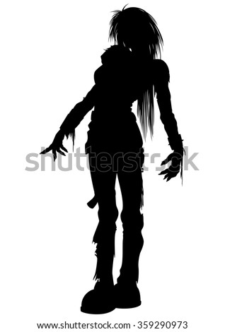 Girl zombie silhouette. Illustration woman zombie with long hairs  - stock photo