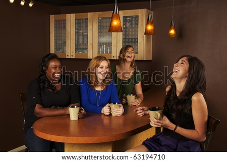 Girlfriends Coffee Talk - stock photo