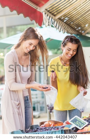 Girlfriends shopping at the market - stock photo