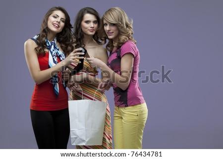 girlfriends smiling high heels - stock photo