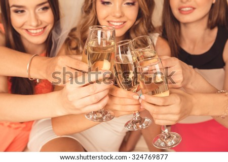 girls celebrating a bachelorette party of bride - stock photo