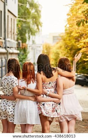 girls Friends group - stock photo