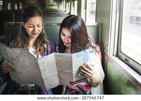 Girls Friendship Hangout Traveling Holiday Map Concept - stock photo