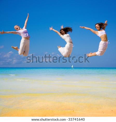 girls gone flying!!! - stock photo