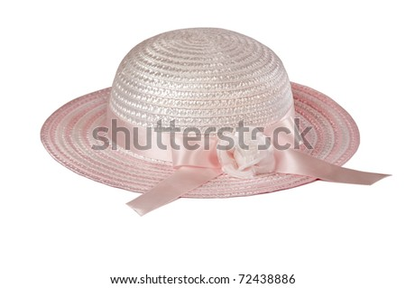 Girls hat isolated on white for Easter or spring high key applications - stock photo