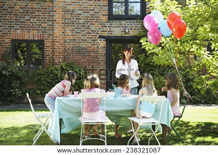 Girls Having a Birthday Party - stock photo